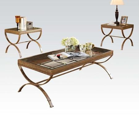 Quintin Collection 80080 3 PC Living Room Table Set with 5mm Clear Tempered Glass Top and Metal Tube Frame in Gold and Brushed Bronze