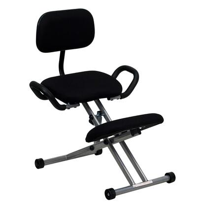 WL-3439-GG Ergonomic Kneeling Chair in Black Fabric with Back and