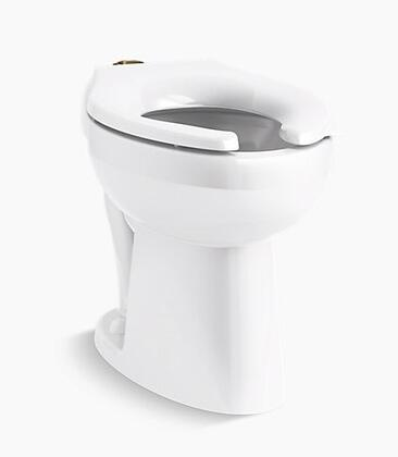 Highcliff K-96057-0 Flushometer Elongated Floor Mount Toilet Bowl with Top Spud  Ultra ADA-Height and  1.1 to 1.6 GPF Range in