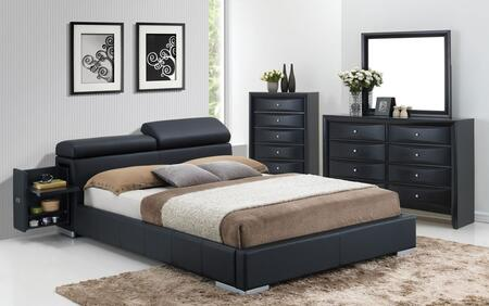 Manjot 20750Q4PC Bedroom Set with Queen Size Bed with Attached Nightstand + Dresser + Mirror + Chest in Black