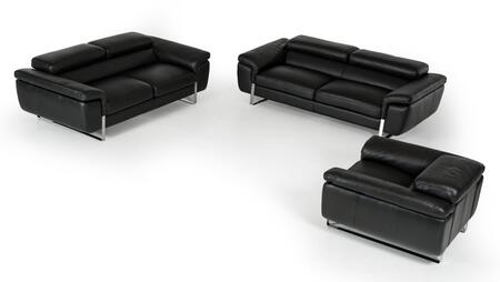 VGFTHIGHLINEBLKTOP Lusso Highline Sofa Set with Sofa  Loveseat  Chair  Adjustable Headrests  Stainless Steel Legs and Top Grain Italian Leather Upholstery in