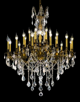 9224D36FG/EC 9224 Rosalia Collection Large Hanging Fixture D36in H36in Lt: 24 French Gold Finish (Elegant Cut