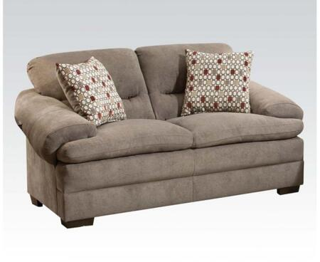 Roselyn Collection 52346 67 inch  Loveseat with 2 Pillows Included  Dual Layers Cushions  Made in USA  Wood Frame and Fabric Upholstery in Miranda Shale