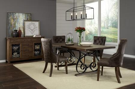 Hawkins Collection 20118901T6SET 6 PC Dining Room Set with Dining Table + Buffet + 4 Side Chairs  in Warm Walnut