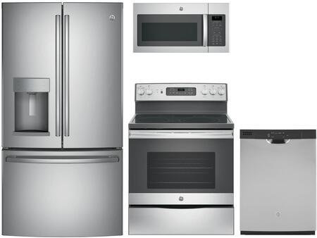 4-Piece Stainless Steel Kitchen Package with GFE28GSKSS 36 French Door Refrigerator  JB655SKSS 30 Freestanding Electric Range  JVM6175SKSS 30 Over