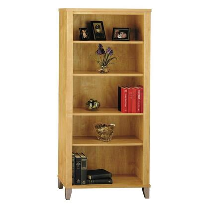 Somerset WC81465 Bookcase with Tapered Legs  3 Adjustable Shelves and 2 Fixed Shelves in Maple Cross