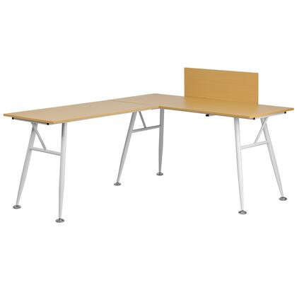 NAN-WK-110-GG L-Shape Computer Desk with  Spacious Desktop  Self-Leveling Floor Glides and White Frame Finish in Beech