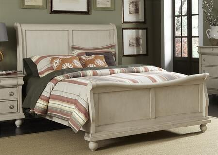 Rustic Traditions II Collection 689-BR-KSL King Sleigh Bed with Bun Feet  Classic Louis Philippe Styling and Center Supported Slat System in Rustic White