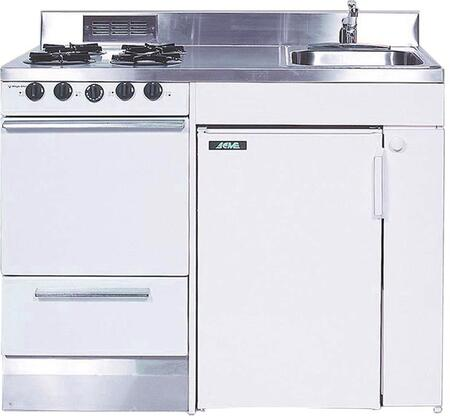 ROG10Y48 Full Feature Kitchenettes Compact Kitchen with Stainless Steel Countertop  4 Gas Burners  Oven  Sink and Compact Refrigerator: 48