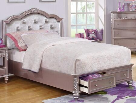 Caroline Collection 400891F Full Size Storage Bed with 2 Footboard Drawers  Padded Upholstered Headboard  Rhinestone Button Tufting  Decorative Molding and