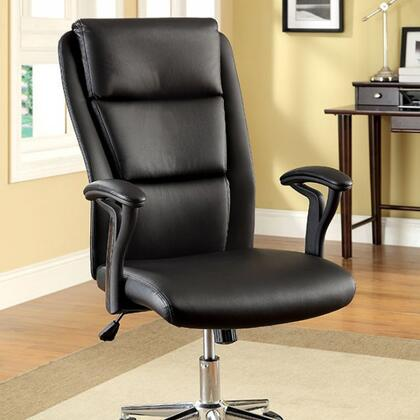 Clairton CM-FC609 Ht. Adjustable Office Chair with Pneumatic Ht. Adjustable Seat  Padded Armrests  Padded Leatherette Chair  Sturdy Wheel Legs in