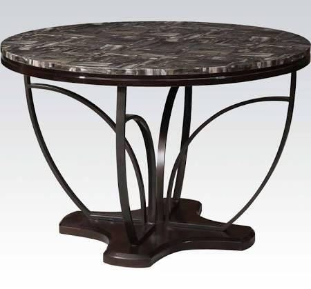 Amelia Collection 71240 48 inch  Dining Table with Faux Marble Top  Pedestal Base  Metal Leg Support and Paper Veneer Materials in Espresso