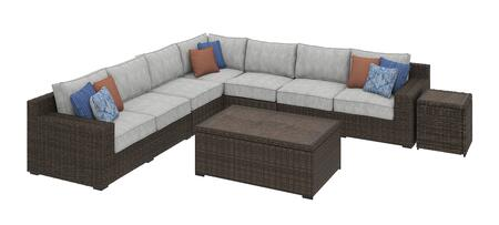 Alta Grande Collection P782-854-5PSECA-CTET Patio Set with 5PC Sectional Sofa  Cocktail Table and End Table in Beige and