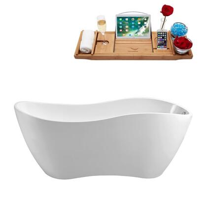 N-740-67FSWH-FM 67 inch  Soaking Freestanding Tub with Internal Drain  Chrome Color Drain Assembly  162 Gallons Water Capacity  and Acrylic/Fiberglass Construction