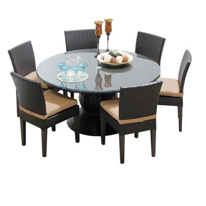 Napa-60-kit-6c Napa 60 Inch Outdoor Patio Dining Table With 6 Armless Chairs With 1 Cover In