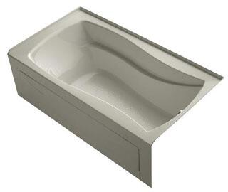 K-1229-RAW-G9 66x36x20 Alcove Apron-Front Acrylic Soaking Bath Tub With Bask Heated Surface  Tile Flange And Right