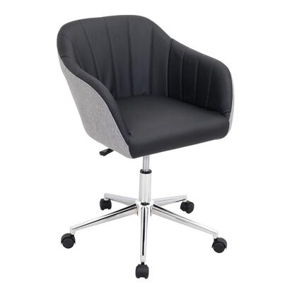 OFC-AC-SHL GYBK Shelton Modern Office Chair in Grey and