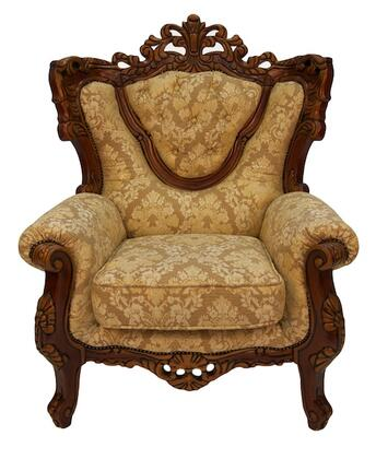 702BROWNC Traditional Style Chair with Wood Finish  Exquisite Carved Details and Finest Fabric Upholstery in Brown with