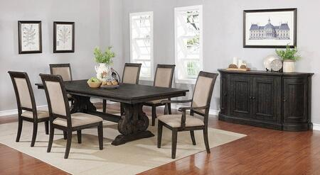 Whitney Collection 121281-S8 8-Piece Dining Room Set with Rectangular Dining Table  2 Arm Chairs  4 Side Chairs and Server in Burnished