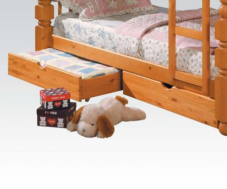Benji Collection 02579 2 PC Drawers with Caster Wheels  Cut-Out Handles  Engineered and Pine Wood Construction in Honey Oak