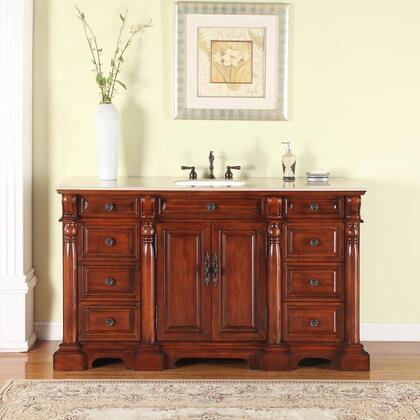 FS-0267-CM-UWC-62 62 inch  Single Sink Cabinet with 9 Drawers  2 Doors  Crema Marfil Marble Top and Undermount White Ceramic Sink