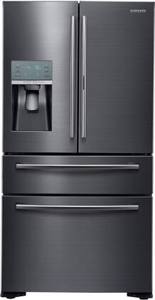 """RF22KREDBSG 36"""" Energy Star Counter-Depth French Door Refrigerator with 22.4 cu. ft. Capacity  Food Showcase Door  Water and Ice Dispenser: Black Stainless"""