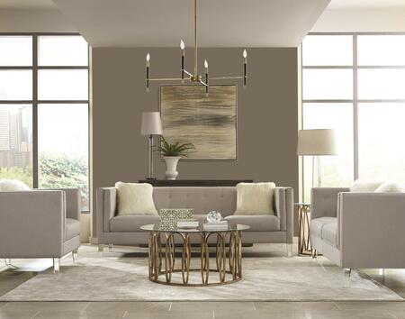 Hemet Collection 5062115SET 5 PC Living Room Set with Sofa + Loveseat + Chair + Coffee Table + End Table in Light Grey