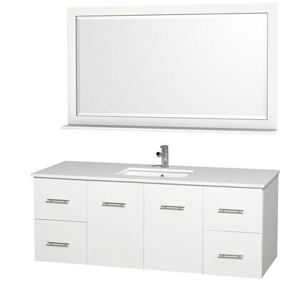 WCV00960WHWHSN 60 in. Single Bathroom Vanity in White with White Man-Made Stone Top with Square Porcelain Undermount Sink and 58 in.