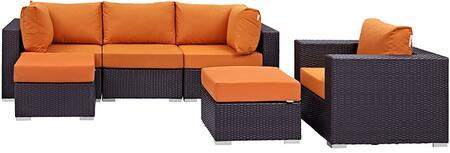 Convene Collection EEI-2207-EXP-ORA-SET 6 PC Outdoor Patio Sectional Set with Powder Coated Aluminum Frame  Waterproof Nonwoven Fabric Inner Cover and