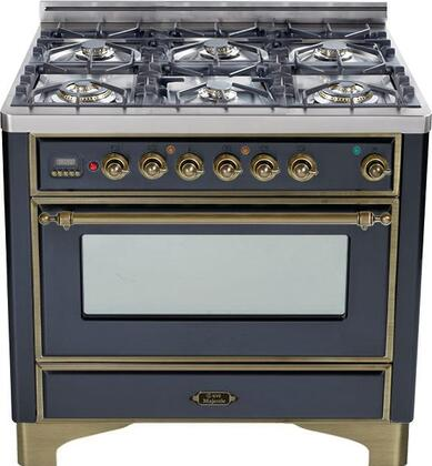 "UM-906-DMP-M-Y 36"" Majestic Series Dual Fuel Range with 3.55 cu. ft. Oven Capacity  6 Burners  Electronic Ignition  Digital Clock and Timer  and Oiled Bronze"