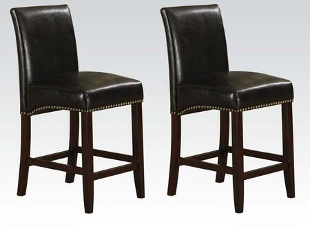 Jakki Collection 96171 Set of 2 30 inch  Counter Height Chairs with Nail Head Trim  Footrest  Wood Frame and Bycast PU Leather Upholstery in Black