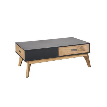 CS96809 Rustic Mid-Century Modern 2-Drawer Jackie 1.0 Coffee Table In Dark Grey And Natural