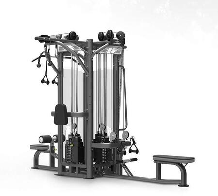 E-3895 Titanium Series 9327 4-Stack Multi-Station Tower with Cable Seated Row  Pulley Lat Pulldown and Triceps Press Down High Pulley Station and Fully