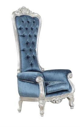 Raven 59142 34 inch  Accent Chair with Button Tufted Back  Rolled Arms  High Back  Silver Wood Frame and Fabric Upholstery in Blue