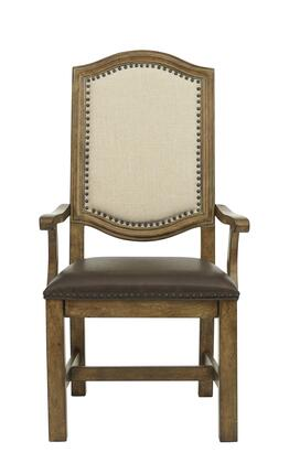 8854155B 19 inch  American Attitude Wide Frame Arm Chair with Upholstered Seat and Back  Block Feet  Nail Head Accents and Distressed Detailing in