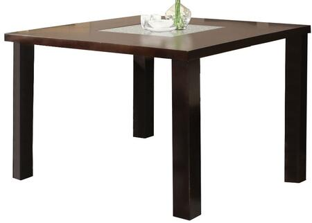 Keelin Collection 71035 54 inch  Dining Table with 12mm Cracked Style Glass Top  Solid Block Legs and Medium-Density Fiberboard