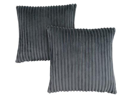 I 9353 18 inch  x 18 inch  Pillow with Textured Rib Cover in Grey - 2
