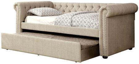 Leanna Collection CM1027BG-F-BED Full Size Daybed with Trundle Included  Button Tufted  Nail Head Trim  Rolled Arms  Wood Veneers Construction and Linen-Like