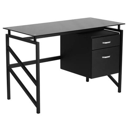 NAN-WK-036-GG Glass Desk with Two Drawer
