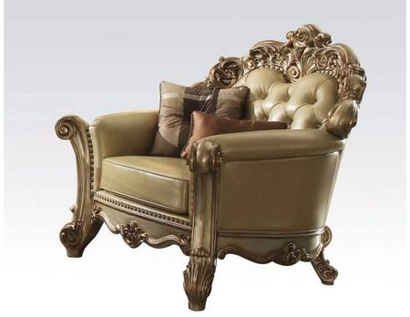 Vendome Collection 53002 48 inch  Chair with Toss Pillows  Nail Head Trim  Aspen and Poplar Wood Construction  Crystal-Like Tufted Back and Bone Bycast PU Leather