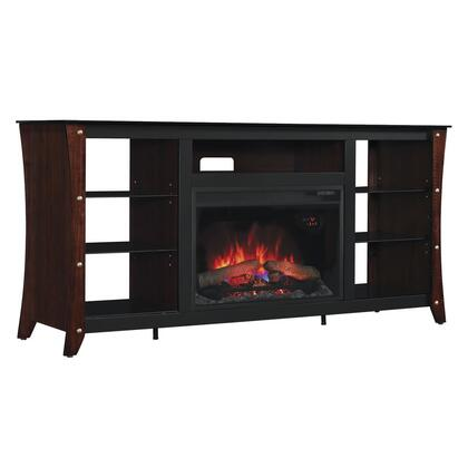 26MM9689-NC72 Marlin Electric Fireplace Media Cabinet with Temepred Glass Top  Nailhead Embellishments and Adjustable Glass Shelves in Engineered Midnight