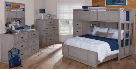 Provo Youth 7300-TFSLB-DRCD 3-Piece Bedroom Set with Twin Over Full Loft Bed  Dresser and Chest in Driftwood