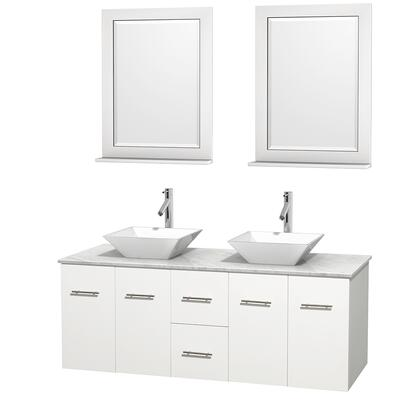 Wcvw00960dwhcmd2wm24 60 In. Double Bathroom Vanity In White  White Carrera Marble Countertop  Pyra White Porcelain Sinks  And 24 In.