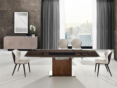 Olivia-Motorized Collection TCMT03SET 5 PC Dining Room Set with Extendable Smoked Glass Top Dining Table and 4 Taupe Eco Leather Upholstery Chairs in Walnut