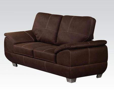 Corliss Collection 51676 70 inch  Loveseat with Polished Metal Legs  Padded Arms and Nubuck Fabric Upholstery in Dark Brown