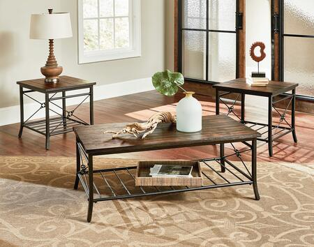 Ainsley Collection 28173 3-Piece Living Room Table Set with Rectangular Cocktail Table and 2 End Tables in Rustic