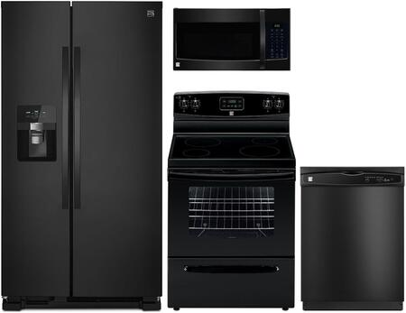 4-Piece Black Kitchen Package with 51119 Side-by-Side Refrigerator  93019 Freestanding Electric Range  80329 Over-the-Range Microwave and 17389 Full Console
