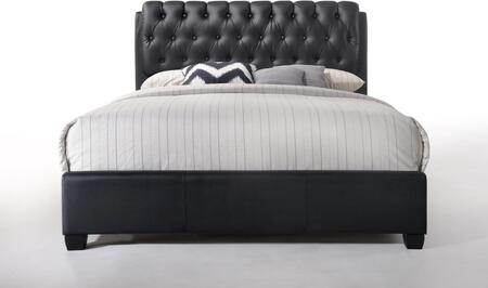 Ireland II Collection 14350Q Queen Size Bed with Button Tufted Headboard  Low Profile Footboard  Supported Slats and Bycast PU Leather Upholstery in Black