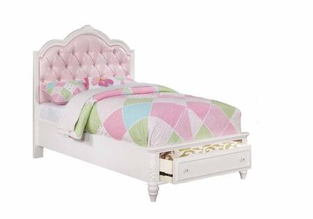 Caroline Collection 400721T Twin Size Storage Bed with 1 Footboard Drawer  Padded Upholstered Headboard  Rhinestone Button Tufting  Decorative Molding and