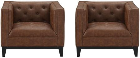 Cadman 2-221HL7 2 Arm Chairs with Track Arms  Button Upholstery and PU Leather Upholstery in
